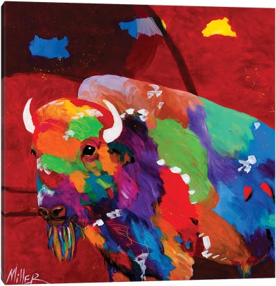 Bison and Red Sky Canvas Art Print