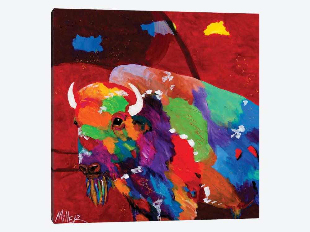 Bison and Red Sky by Tracy Miller 1-piece Canvas Art Print