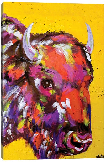 Bison in Yellow Canvas Art Print