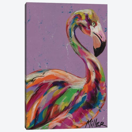 Flamingo in Lilac Canvas Print #TCY56} by Tracy Miller Canvas Wall Art