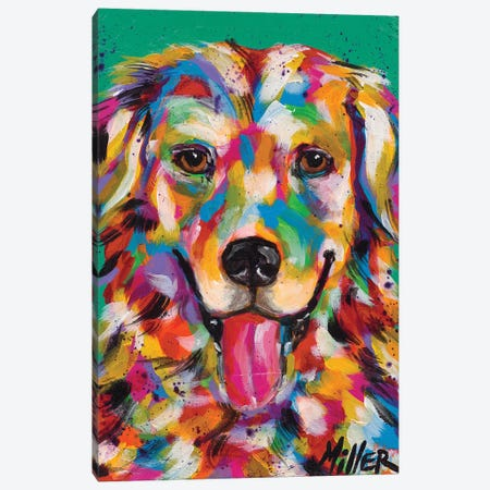 Happy Golden Retriever Canvas Print #TCY60} by Tracy Miller Canvas Art