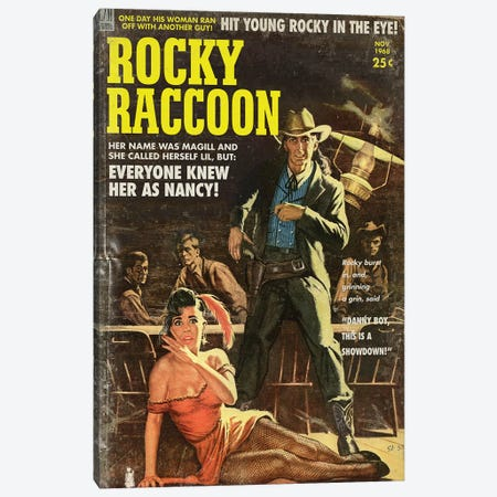 Rocky Raccoon (Pulp Variant) Canvas Print #TDD50} by Todd Alcott Canvas Art Print