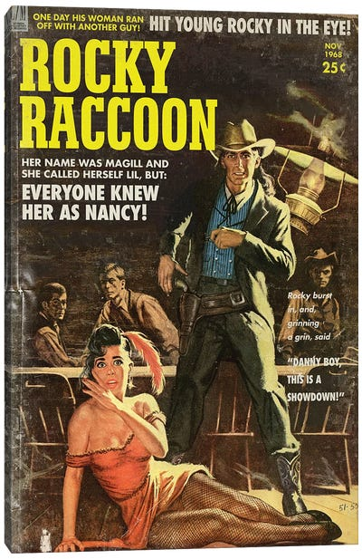 Rocky Raccoon (Pulp Variant) Canvas Art Print