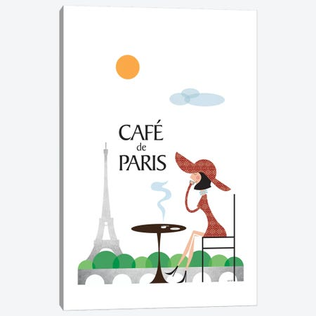 Café de Paris Canvas Print #TDE11} by TomasDesign Canvas Artwork