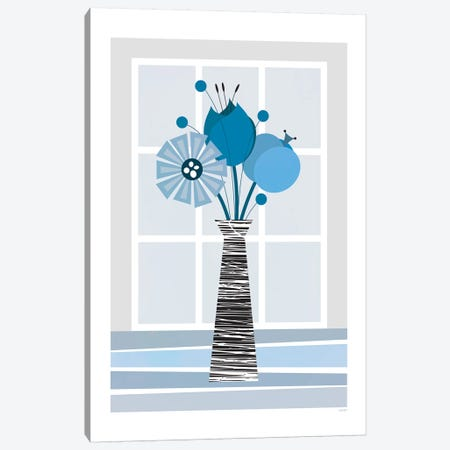 Flowers (Blue) Canvas Print #TDE18} by TomasDesign Canvas Art