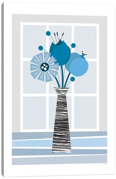 Flowers (Blue) Canvas Art Print