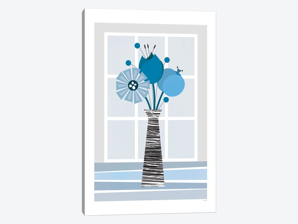 Flowers (Blue) by TomasDesign 1-piece Canvas Art Print