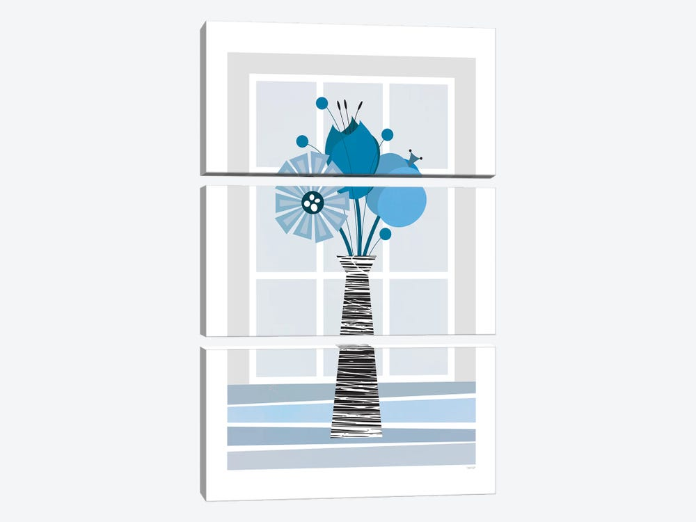 Flowers (Blue) by TomasDesign 3-piece Canvas Print