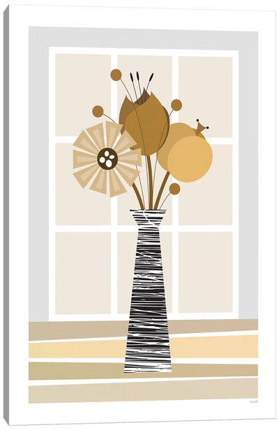 Flowers (Brown) Canvas Art Print