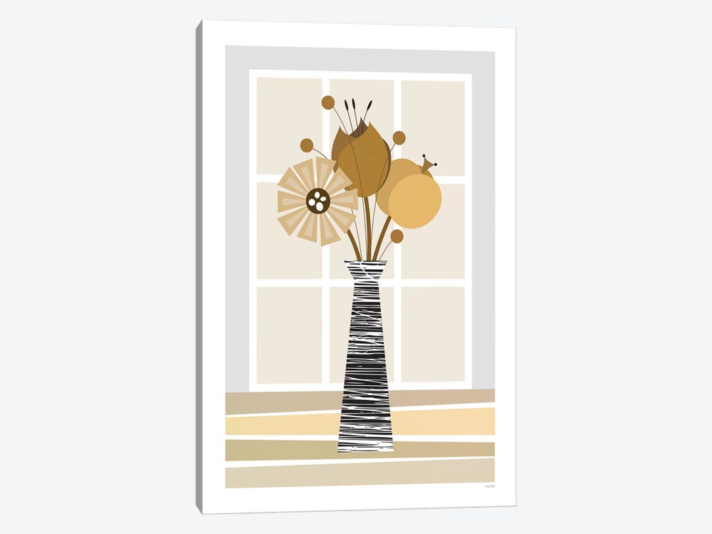 Flowers (Brown) by TomasDesign 1-piece Canvas Art