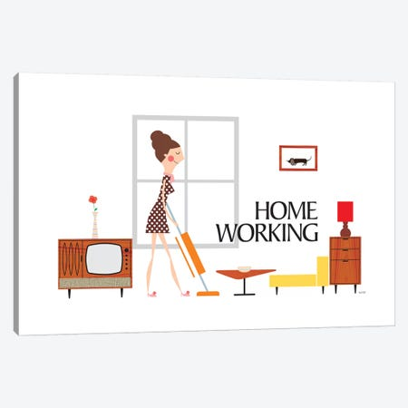Home Working Canvas Print #TDE34} by TomasDesign Canvas Art Print