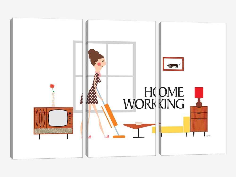 Home Working by TomasDesign 3-piece Canvas Art Print