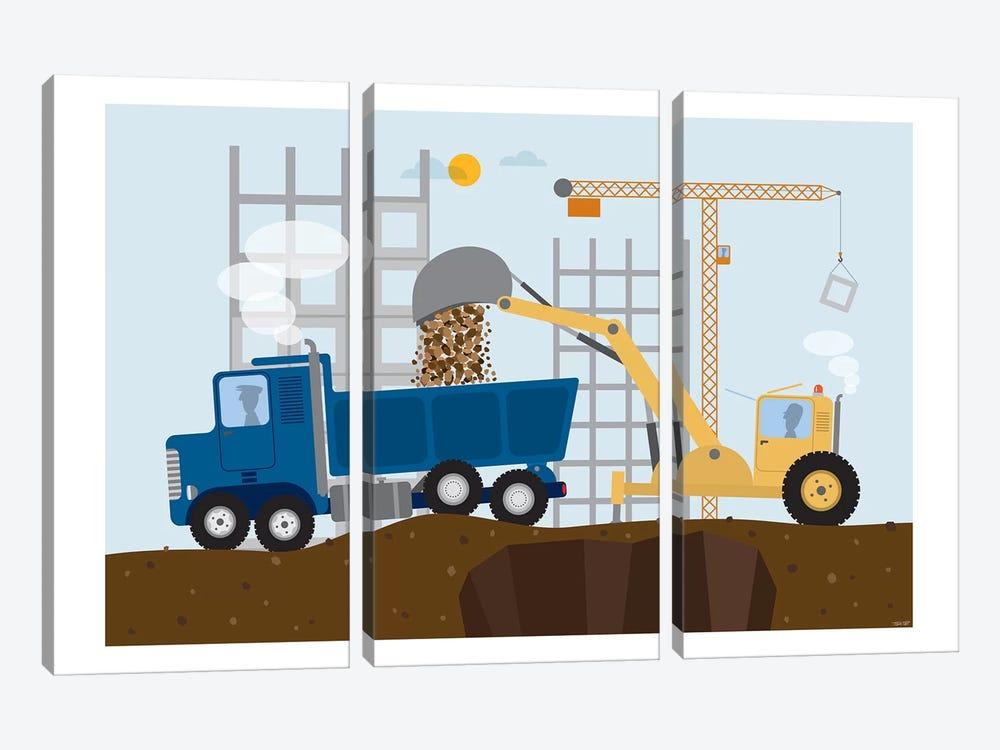 Stavební Stroje I by TomasDesign 3-piece Canvas Artwork