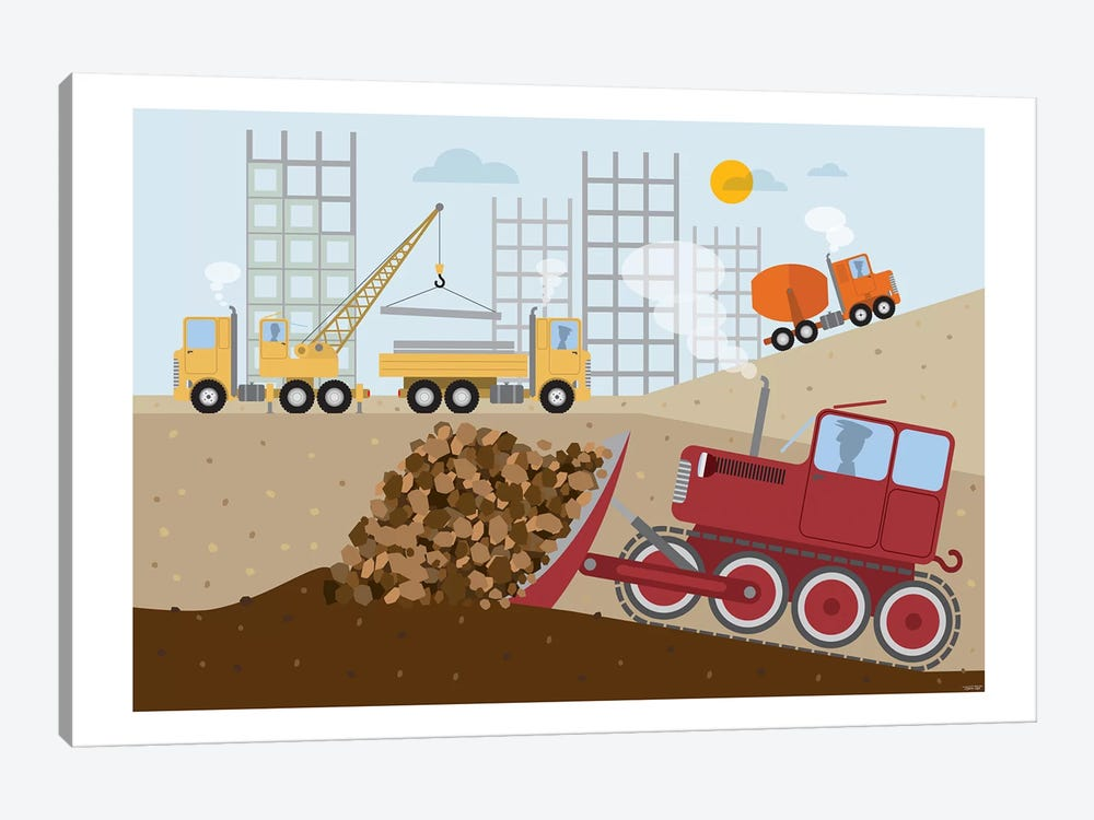 Stavební Stroje II by TomasDesign 1-piece Canvas Print