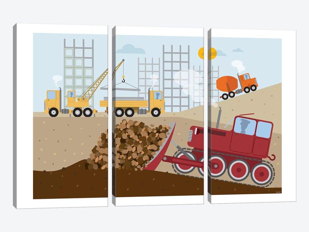 Stavební Stroje II by TomasDesign 3-piece Canvas Print