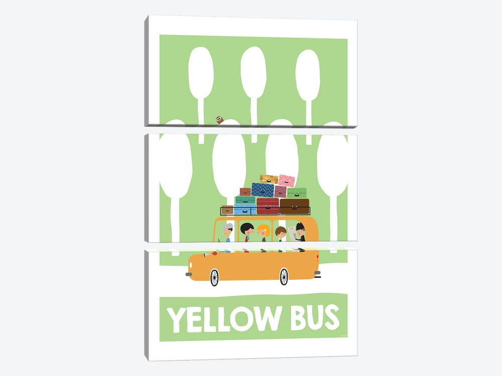 Yellow Bus by TomasDesign 3-piece Canvas Art