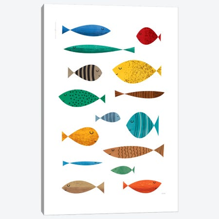 Fish 3-Piece Canvas #TDE90} by TomasDesign Canvas Artwork