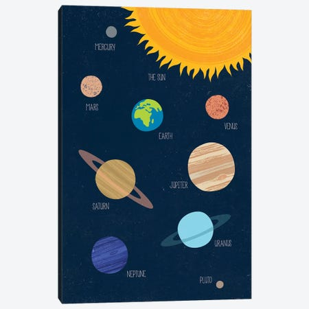 Solar System Canvas Print #TDE93} by TomasDesign Canvas Wall Art