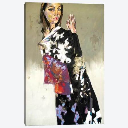 Figure In Black Kimono 1-14-20 3-Piece Canvas #TDO16} by Thomas Donaldson Canvas Art Print