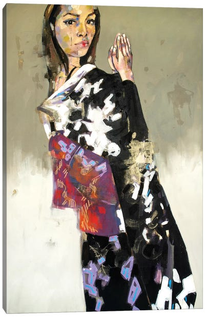 Figure In Black Kimono 1-14-20 Canvas Art Print