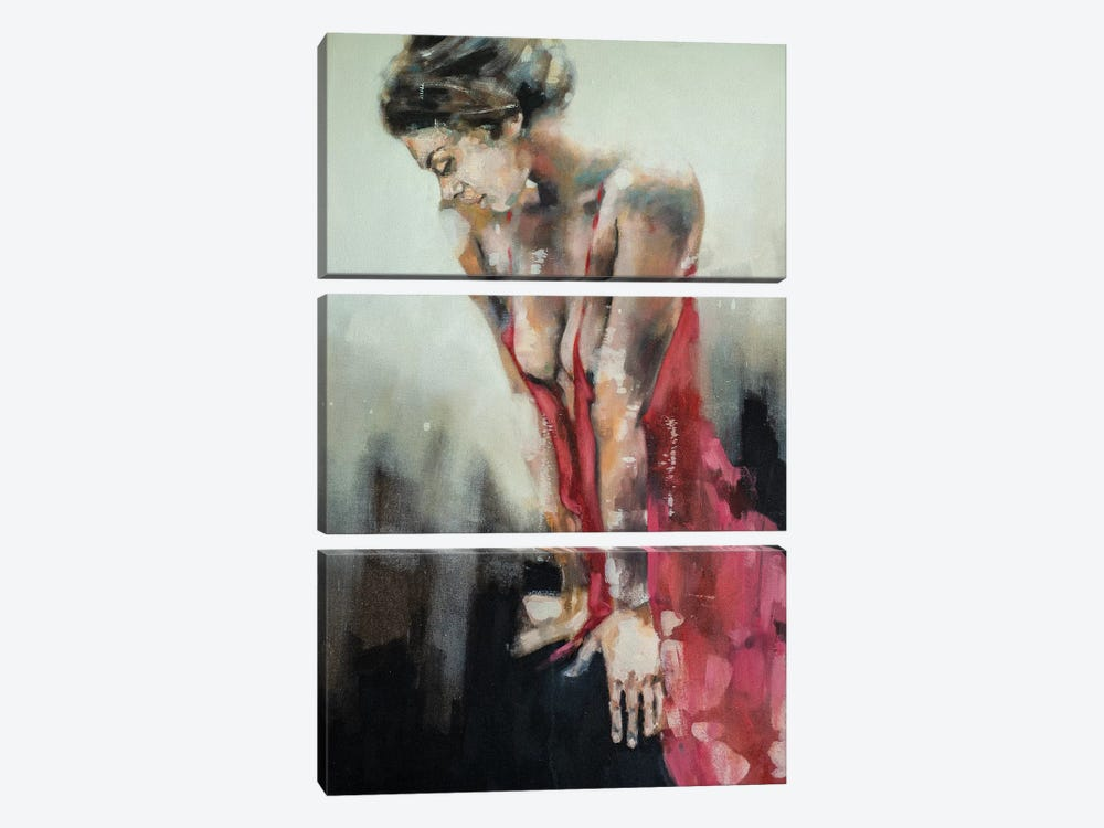 Figure With Red Dress 9-9-19 by Thomas Donaldson 3-piece Canvas Art Print