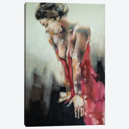 Figure With Red Dress 9-9-19 Canvas Print #TDO23} by Thomas Donaldson Art Print