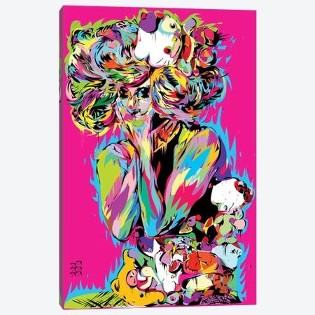 Gaga Kitty Canvas Print #TDR118} by TECHNODROME1 Canvas Wall Art