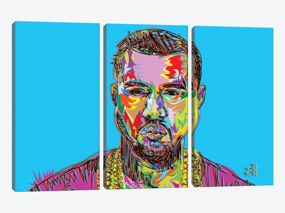 Kanye by TECHNODROME1 3-piece Canvas Art Print