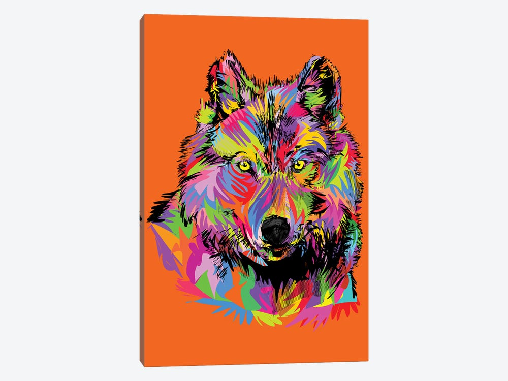 Lady Wolf On Orange by TECHNODROME1 1-piece Art Print
