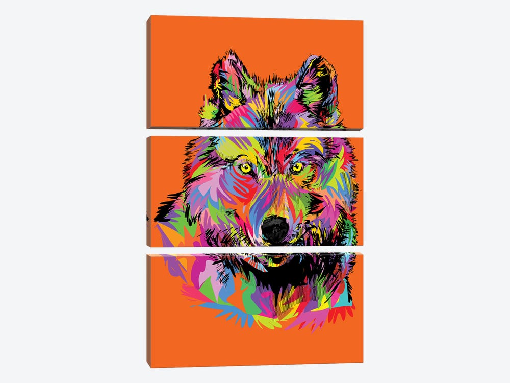 Lady Wolf On Orange by TECHNODROME1 3-piece Canvas Print