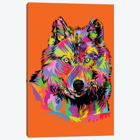 Lady Wolf On Orange Canvas Print #TDR160} by TECHNODROME1 Canvas Print