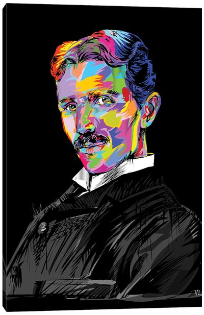 Tesla On Blue Canvas Art Print