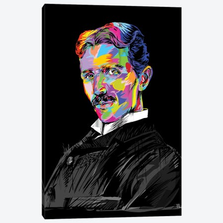 Tesla On Blue Canvas Print #TDR166} by TECHNODROME1 Canvas Art