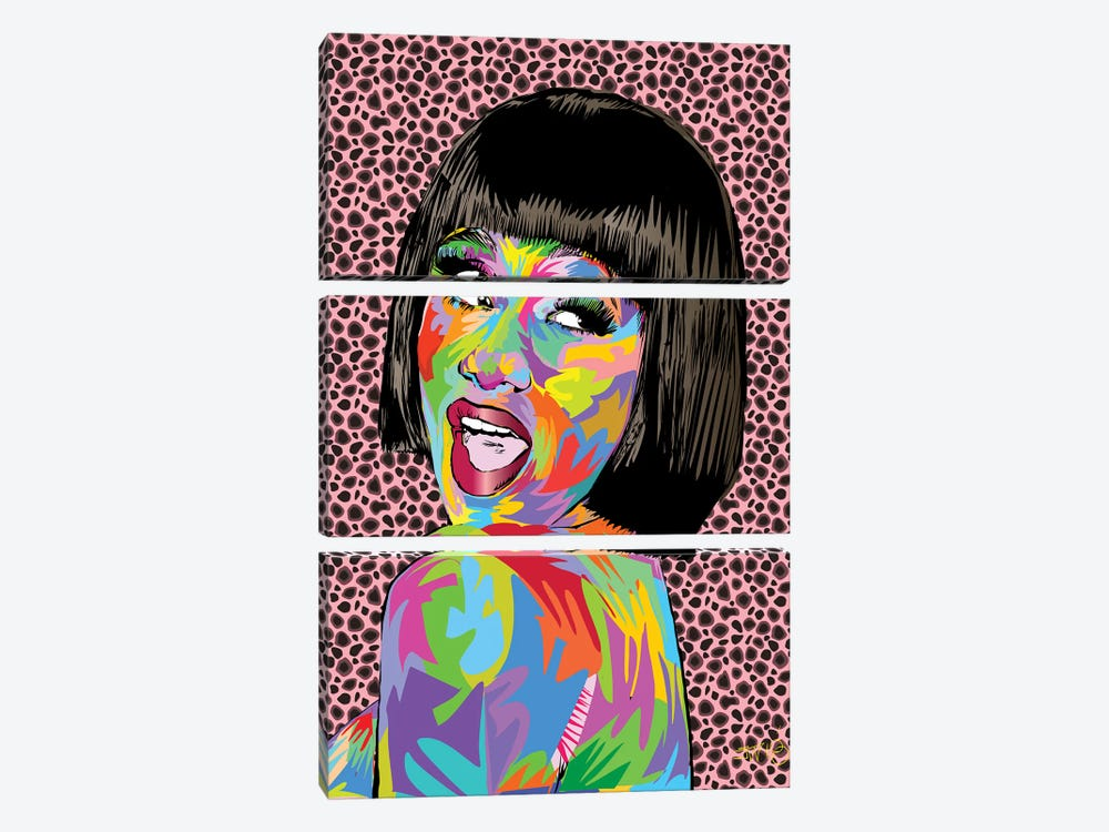 Cardi B. by TECHNODROME1 3-piece Canvas Art Print