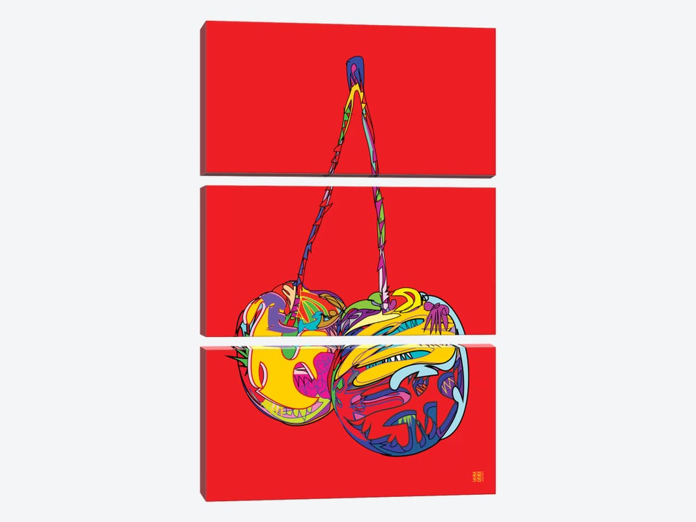 Cherries by TECHNODROME1 3-piece Canvas Art