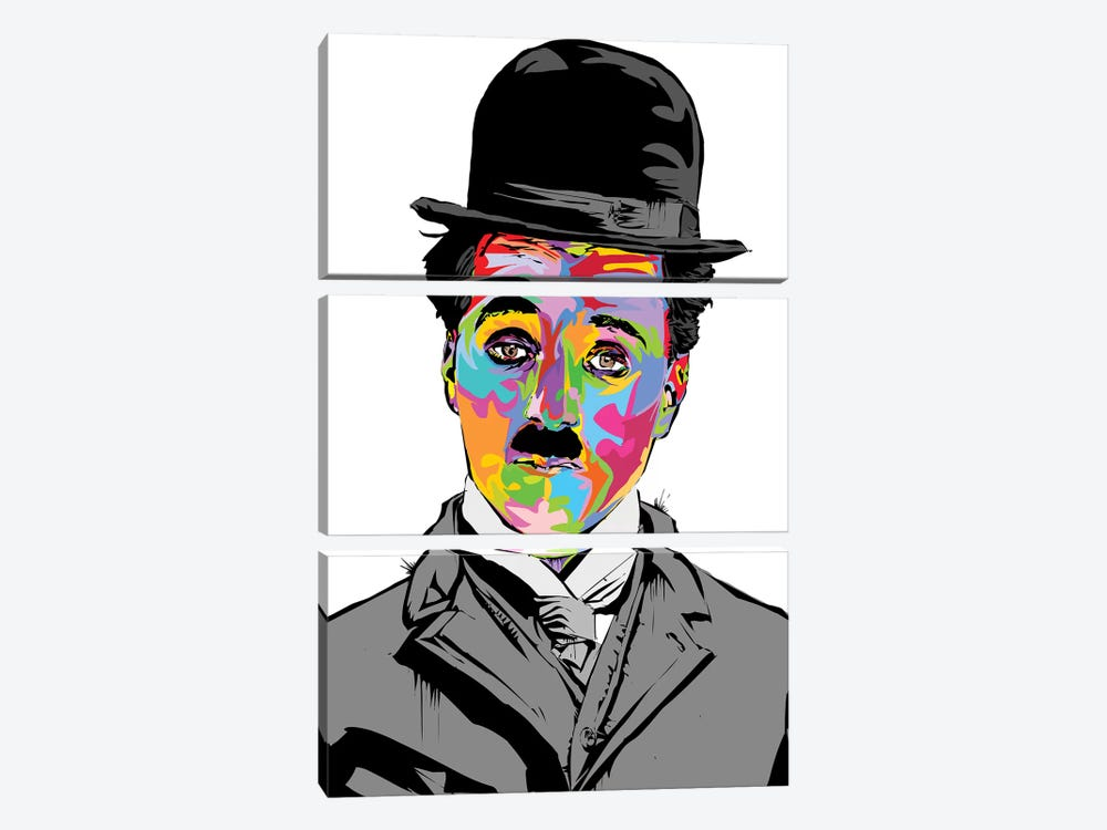 Charlie Chaplin by TECHNODROME1 3-piece Canvas Art Print