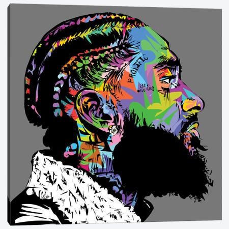 Nipsey Hussle R.I.P. Canvas Print #TDR283} by TECHNODROME1 Canvas Wall Art