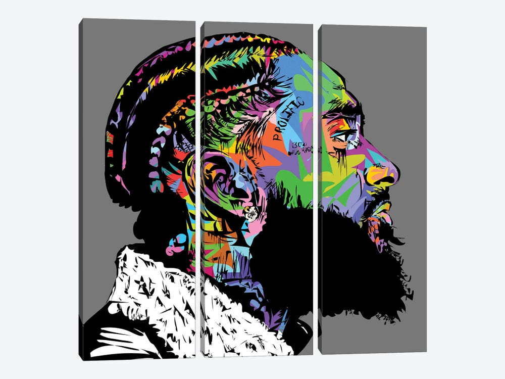 Nipsey Hussle R.I.P. by TECHNODROME1 3-piece Canvas Wall Art