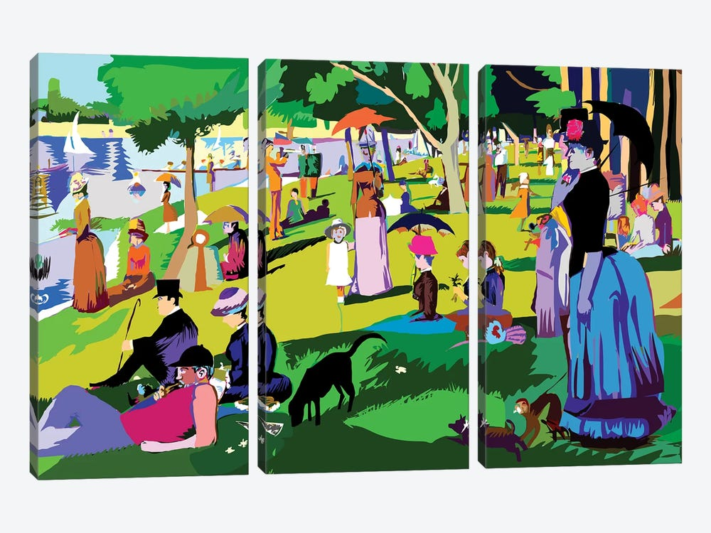 Sunday Afternoon On The Island Of La Grande Jatte By Georges Seurat by TECHNODROME1 3-piece Canvas Artwork