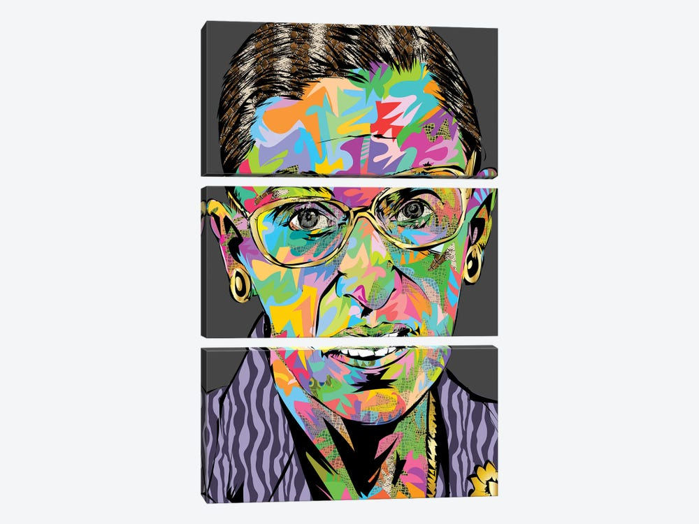 RBG RIP by TECHNODROME1 3-piece Canvas Artwork