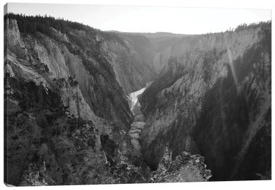 Sunrays Over Yellowstone In Black And White Canvas Art Print