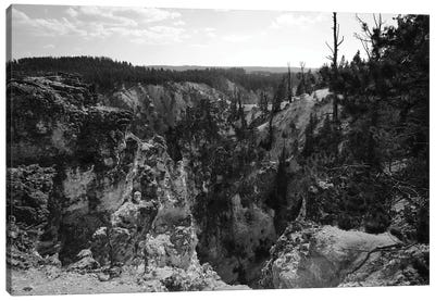 Rocky Yellowstone In Black And White Canvas Art Print