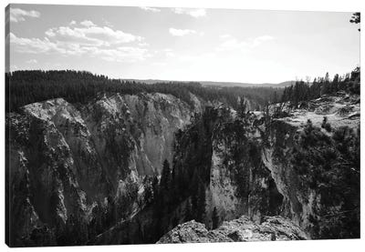 Yellowstone Cliff In Black And White Canvas Art Print