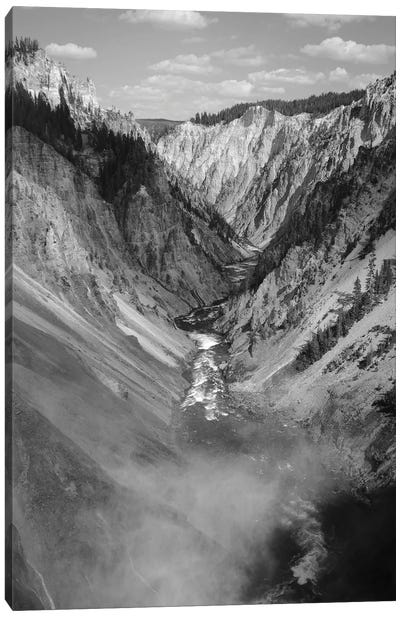 The Yellowstone In Black And White Canvas Art Print