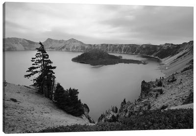 Serenity At Crater Lake In Black And White Canvas Art Print