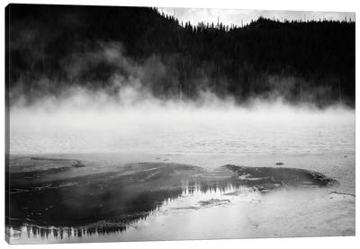 Steaming Yellowstone In Black And White Canvas Art Print