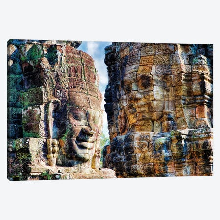 Cambodia, Angkor Watt, Siem Reap, Faces of the Bayon Temple 3-Piece Canvas #TEG12} by Terry Eggers Canvas Art Print