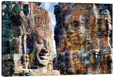 Cambodia, Angkor Watt, Siem Reap, Faces of the Bayon Temple Canvas Art Print