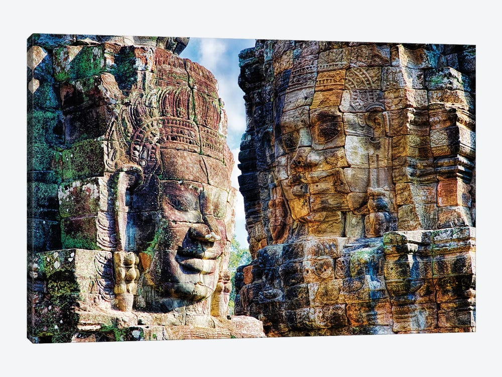 Cambodia, Angkor Watt, Siem Reap, Faces of the Bayon Temple by Terry Eggers 1-piece Canvas Artwork