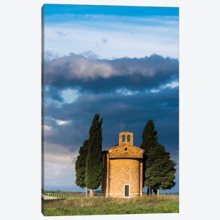 Italy, Tuscany, Val Di D'Orcia, Vitaleta chapel in the morning. Canvas Print #TEG14} by Terry Eggers Canvas Wall Art